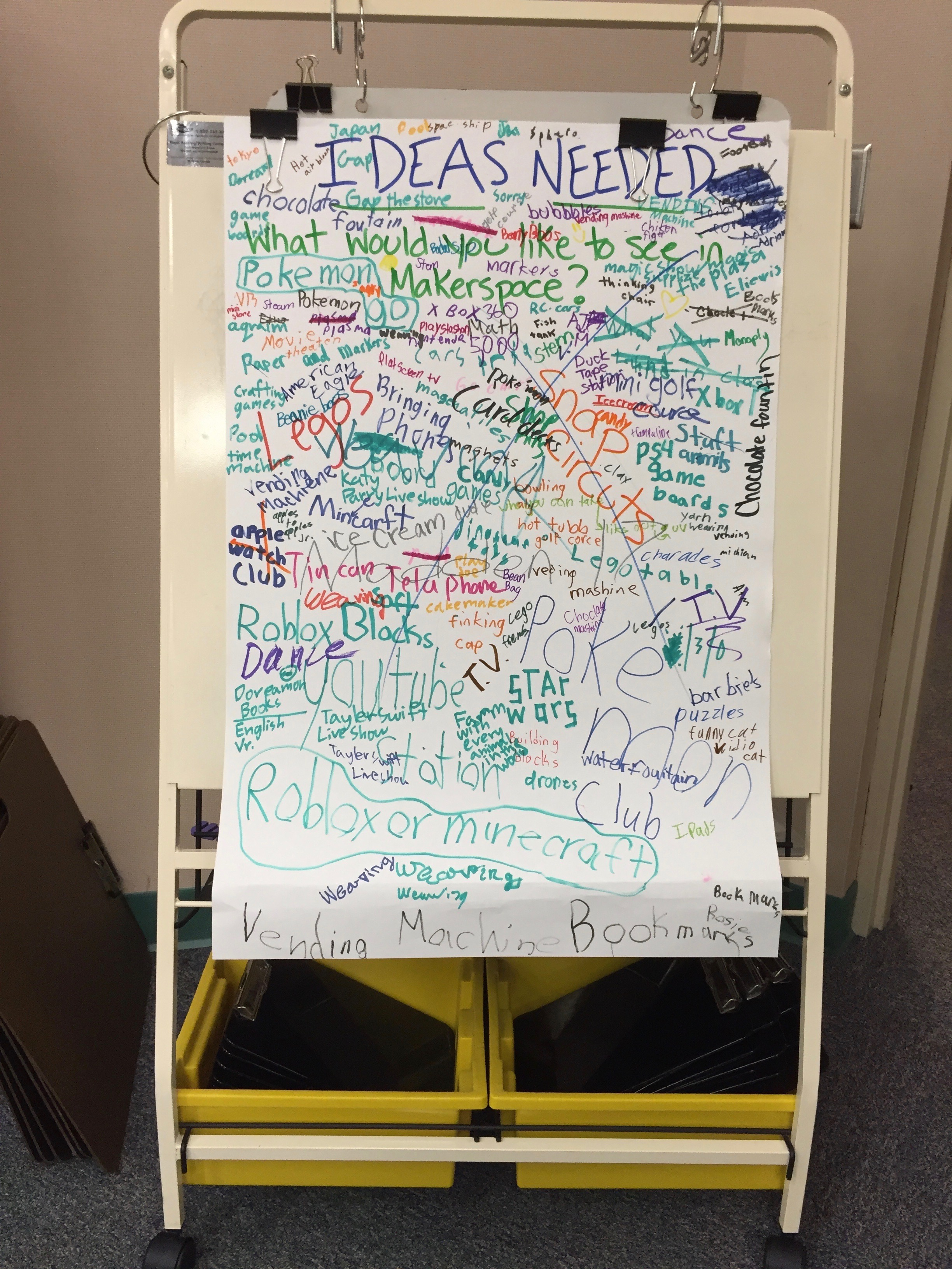 a large sheet of paper covered in ideas generated by the students of the school