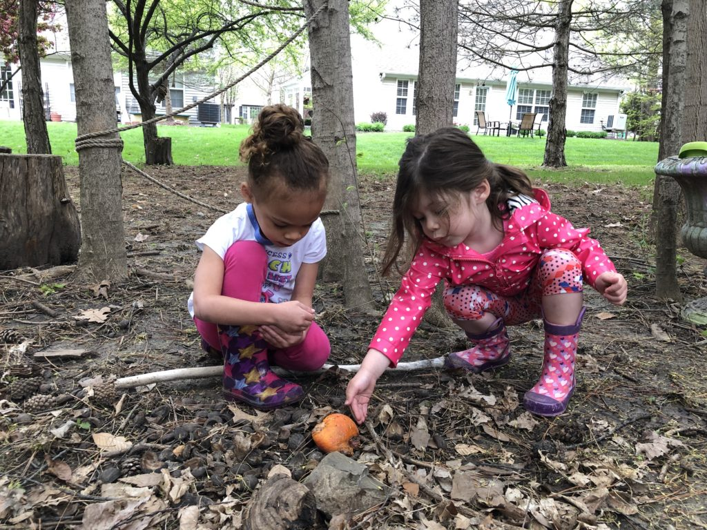 2 young girls investigating an orange on the ground