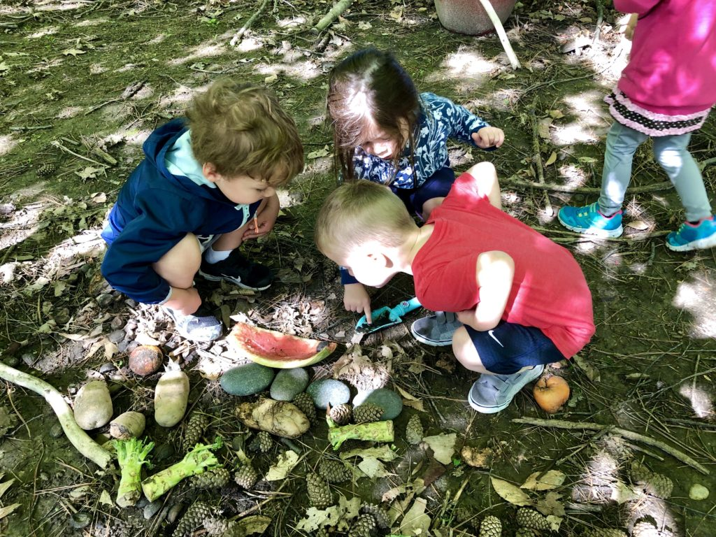 2 boys and a girls looking closely at a piece of watermelon on the ground
